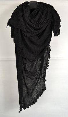 tissutire: Tissu Tiré Black Rayon Scarf