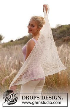 "Knitted DROPS shawl with lace pattern in ""Lace"". ~ DROPS Design  free pattern"