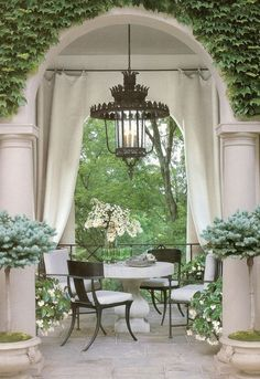 "tablescapes, terraces, courtyards, patios, etc. Alfresco ""To take place in the open air""."