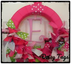 Owls Baby Girl Ribbon Wreath in Hot Pinks for by DaisyTags on Etsy, $50.00