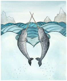 Narwhal Art Print Narwhals in Love Painting - Giclee Print - Watercolor - 8x10.