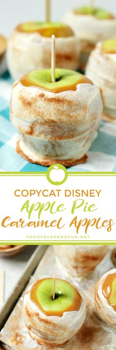 These Copycat Disney Apple Pie Caramel Apples tastes just like the ones at Disneyland! They're covered with sticky caramel, dipped in white chocolate, and sprinkled with cinnamon sugar!