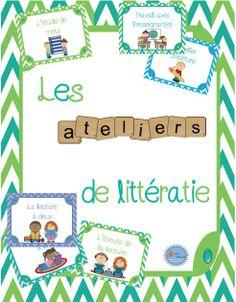 Ensemble (affichage et outils) pour les ateliers de littératie/ French literacy centers kit