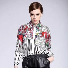 Elegant Floral Shirt Price $40.80 AUD GO HERE----> @soulkreedclothing and click link in bio. Sign up to newsletter and get 15% off all purchases! Style: Fashion Sleeve Length: Full Material: Silk Pattern Type: Striped Collar: Turn-down Collar Fabric Type: Broadcloth Decoration: None Clothing Length: Regular Sleeve Style: Regular  #womensfashion #womensstyle #womenstyle #womenswear #womensclothing #womensclothes #womenstops #womenshirt #girlstops #girlsshirts #girlstr..