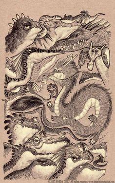 Random dragon sketches by imaginism on deviantART