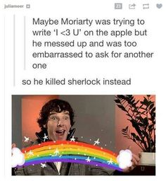 This sounds like something Moriarty would do. This fandom needs help. What if we invented the job of a Sherlock fandom psychiatrist who only had patients from the sherlock fanfom? That could work, right? Sherlock Fandom, Sherlock Holmes, Jim Moriarty, Sherlock Humor, Sherlock John, Johnlock, Benedict Cumberbatch, Hunger Games, Mrs Hudson