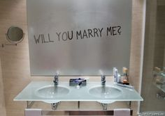 Bathroom mirror proposal ~ so sweet!