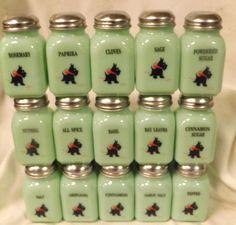 Lot of 15 Jade Jadite Milk Green Glass Stove Top Spice Jars Scottie Scotty Dogs