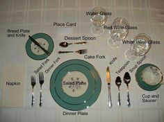 Awesome Reminder of how a Table Setting should be! You never know..first dinner with her new inlaws or your hosting your new mother in law!