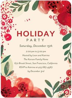 Flat Holiday Party Invitations - Blooming Bright by Tiny Prints joy124 for 20% off