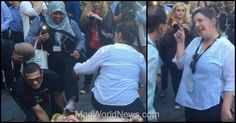 """Commuters in New York City this morning were treated to an extremely detailed view of a mostly naked statue of Hillary Clinton — complete with a Wall Street banker at her breast — but not everyone was tolerant of the so-called """"protest art."""" A triggered feminist who works in the area freaked out after seeing naked Hillary and, joined by a Muslim, they caused quite a ridiculous scene with their reaction."""