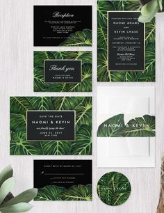 & Modern Tropical Wedding Invitations Tropical Leaves Botanical Green Wedding Invitation Collection designed by Dulcet Contemporary.Tropical Leaves Botanical Green Wedding Invitation Collection designed by Dulcet Contemporary. Green Wedding Invitations, Custom Wedding Invitations, Wedding Stationary, Wedding Invitation Cards, Wedding Cards, Zazzle Invitations, Invitation Ideas, Invitation Templates, Invites