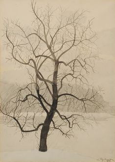 "outlivethenight: "" wetreesinart: "" Léon Spilliaert (Belgian, 1881-1946), Arbre en hiver [Tree in Winter], 1929. India ink wash on paper, 73.5 x 53 cm. "" Los Árboles: Porque somos como troncos de..."