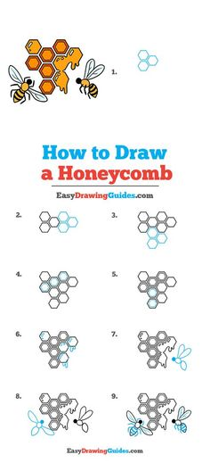 Flower Drawing Tutorials, Drawing Tutorials For Kids, Craft Projects For Kids, Arts And Crafts Projects, Six Sided Shape, Cartoon Bee, Cartoon Drawing Tutorial, Coloring Tutorial, Online Drawing