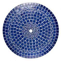 Round mosaic table midnight blue