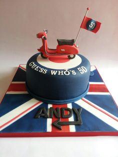 Mod cake- lambretta scooter Bicycle Cake, Bike Cakes, Vespa Cake, Paul Cakes, Dad Birthday, Birthday Cake, Music Themed Cakes, Burns Supper, 50th Cake