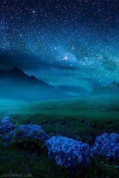 Starry Blue Night blue sky night nature stars