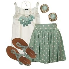 Blouse and polka dot skirt flip flops and accessories