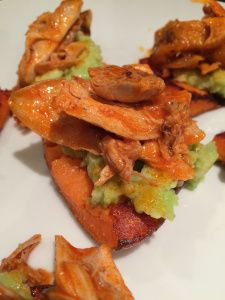 spicy chicken on sweet potatoes