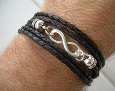 Black Braided Leather Bracelet, Infinity Bracelet, Triple Wrap Black Braid, Mens Bracelet, Womens Br on Luulla Bracelets For Men, Jewelry Bracelets, Bracelet Men, Guy Jewelry, Jewellery, Bracelets Liberty, Diy Collier, Black Braids, Braided Leather