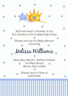 Prince Baby Shower Invitation (Birthday)