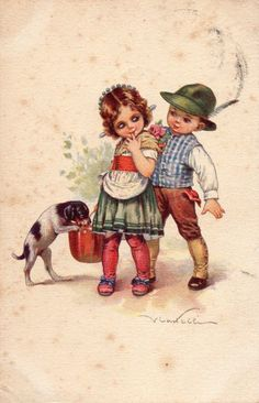 V. Castelli - Postcard - Cane Dog Bambini Children - Viaggiata - CV093 | eBay