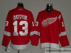 Red Wings #13 Pavel Datsyuk Embroidered Red NHL Jersey