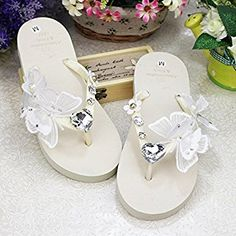 dc307fcb4338 KAKA(TM) Women s Fashion Rhinestone Glitter Studded Crystal Flower Thong  Sandals Flip Flops Sandals¨White Size 39-40