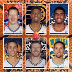 Keepinit Real NBA News: NBA All-Star 2013 Sprite 3-point Contestants  (1) Steve Novak, New York Knicks  (2) Paul George, Indiana Pacers  (3) Kyrie Irving, Cleveland Cavaliers  (4) Stephen Curry, Golden State Warriors  (5) Matt Bonner, San Antonio Spurs  (6) Ryan Anderson, New Orleans Hornets