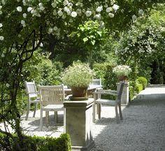 New Ideas White Gravel Patio Outdoor Spaces Outdoor Areas, Outdoor Seating, Outdoor Rooms, Outdoor Living, Outdoor Decor, Garden Cottage, Garden Seating, White Gardens, Dream Garden