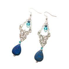 Boucles d'oreille elfiques lapis lazuli et perles de Bohême turquoises