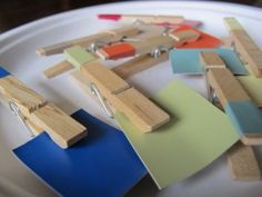 Fine Motor & Color Matching with hardware color chips and clothespins.