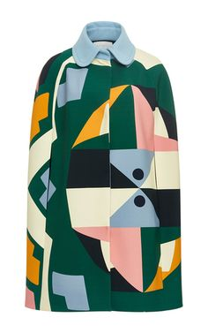 This **Parden's** Yoma Printed Cape features a round collar with a color block print and a boxy silhouette.