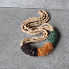 Statement textile necklace / Knit Wool Mohair / Luxury fiber jewelry / Crochet necklace / Fall Fashion Jewelry / Beige brown green mustard