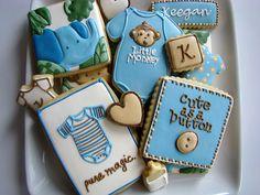 Baby Cookies by JJ Spencer Onesie Cookies, Baby Cookies, Baby Shower Cookies, Iced Cookies, Cupcake Cookies, Sugar Cookies, Baby Shower Prizes, Baby Boy Shower, Baby Showers