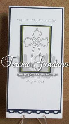 Tarjeta de Comunión varon www.coqueteriasmanuales.com