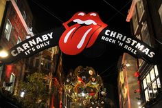 The Rolling Stones Christmas decorations outside the opening party for the Rolling Stones pop up shop on Caranaby Street.