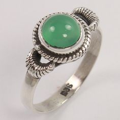 Natural GREEN ONYX Gemstone 925 Solid Sterling Silver Handcrafted Ring Size US 7 #Unbranded