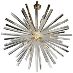 Spectacular Murano Glass Triedre Crystal Sputnik Chandelier with Brass Fittings | 1stdibs.com