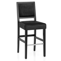 Get a sleek and sophisticated look with the Jasper Black Stool Black Velvet, including a chic chrome footrest for a modern touch.