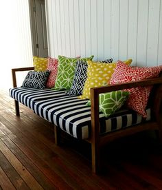 Patterned bench with fun pillows