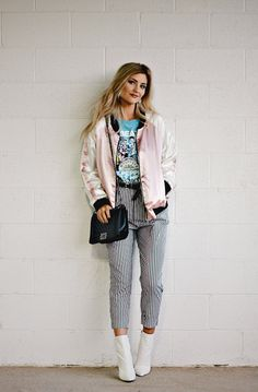 white boots, striped pants, Zara, Beatles, vintage tee, band tee, street style, edgy style, fall outfit, fall fashion, fall trends, the noms niche, lindsey simon, Las Vegas, fashion blogger, beauty blogger, paperboy waist pants, belted pants, how to wear, outfit inspiration, outfit ideas, bomber jacket, pink silk bomber jacket, silk jacket, pink jacket
