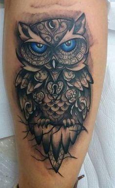 Tribal Owl Tattoos, Geometric Owl Tattoo, Tattoos Masculinas, Great Tattoos, Tatoos, Wolf Tattoo Meaning, Tattoos With Meaning, Owl Neck Tattoo, I Tattoo