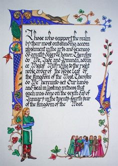 the calligraphy is Rich Templeman,  illumination is constance lymour