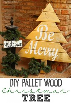 Pallet Wood Christmas Tree   An easy project to add a little character to your front porch Christmas decor!   Roubinek Reality www.roubinek.net