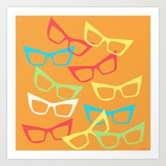 """Becoming Spectacles"" is something new for me and I am in love with the colors and shapes of this summery piece! #eyeglasses #retro #vintage #saulbass #graphic"