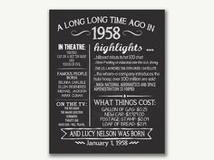 The Year 1958, Personalized 60th Birthday Printable Poster, PRINTABLE 60th Birthday Sign, Fun Facts 1958, 60th Birthday Gift, Digital File THIS ITEM IS FOR A DIGITAL FILE ONLY! NOTHING WILL BE SENT IN THE MAIL! IF YOU NEED A YEAR OTHER THAN THE ONE LISTED PURCHASE THIS POSTER OR