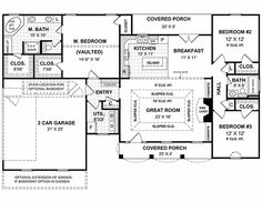 Southern Style House Plan - 3 Beds 2 Baths 1654 Sq/Ft Plan #21-126 Floor Plan - Main Floor Plan - Houseplans.com