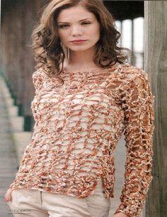 Jersey calados matices de la tierra patron - Patrones Crochet