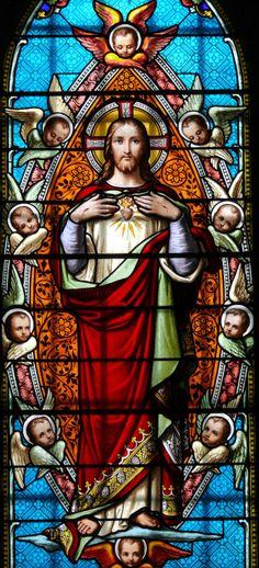 Marols - Eglise Saint-Pierre - Sacré Coeur de Jésus Stained Glass Mosaic, Catholic Church Stained Glass, Jesus Pictures, Glass Painting, Stained Glass Church, Catholic Art, The Last Supper Painting, Sacred Art